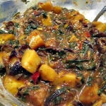 Lasoon Batata Palak (New Potatoes & Spinach In A Garlic-Red Chile Sauce)