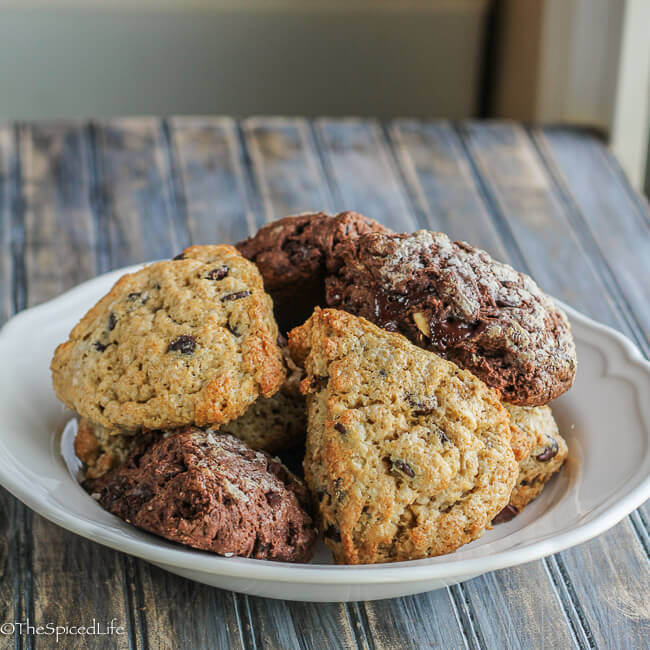 Chocolate Scones! Chocolate Chip Butterscotch and Quadruple Chocolate Scones are wonderful for dessert or as an afternoon snack! And so easy!