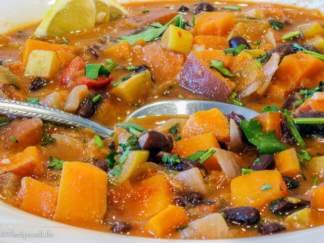 This Sweet Potato and Peanut Soup with Black Beans will rock your world! Easy, delicious, healthy!