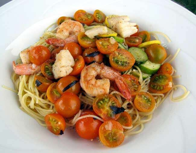 Shrimp & Scallops Tossed with Cherry Tomatoes, Basil & White Wine
