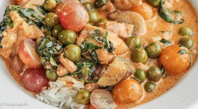 Thai Red Curry with Chicken, Grapes and Pea Eggplants: Homemade frozen red curry paste means amazing meals are just 30 minutes away on any given night!