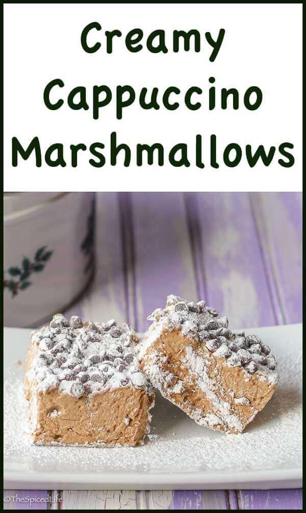 Creamy Cappuccino Marshmallows with miniature chocolate chips