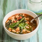 Garlic, White Bean & Chorizo Stew With Spinach and Sherry Vinegar is a warming bowl of soup that translates to a comfort food dinner!