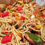 Super Easy Chicken & Bell Pepper Chow Mein