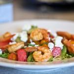 Shrimp with Watermelon, Tomatoes & Feta: Beach Nostalgia