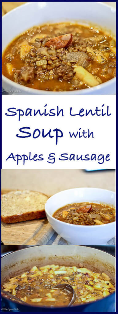 Spanish Lentil Soup with Sausages and Apples--even better the second day!
