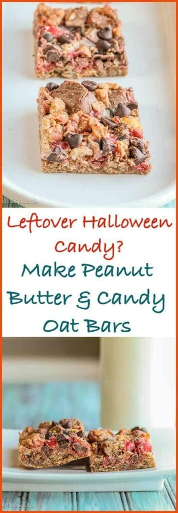 Peanut Butter Candy Oat Bars: Got leftover Halloween candy? These bar cookies are a fantastic way to use it up!