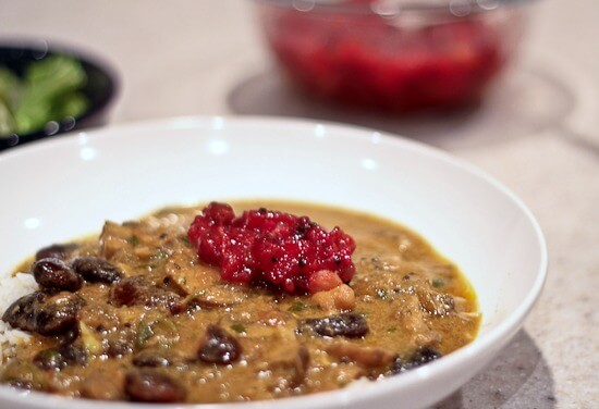 Indian Scarlet Runner Bean and Chickpea Stew with Crimini Mushrooms