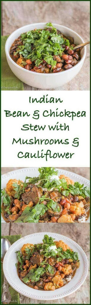 Indian Bean and Chickpea Stew with Mushrooms and Cauliflower: this is gateway Indian food! I haven't met anyone who does not love this super healthy vegetarian dinner! I sold my mom on curry with this!