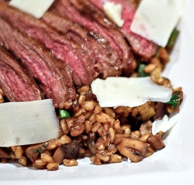 Warm Steak and Farro Salad with Mushrooms and Shaved Parm