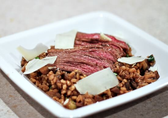 Warm Steak and Farro Salad with Mushrooms and Shaved Parmesan