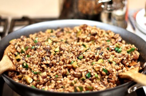 warm farro and mushroom salad