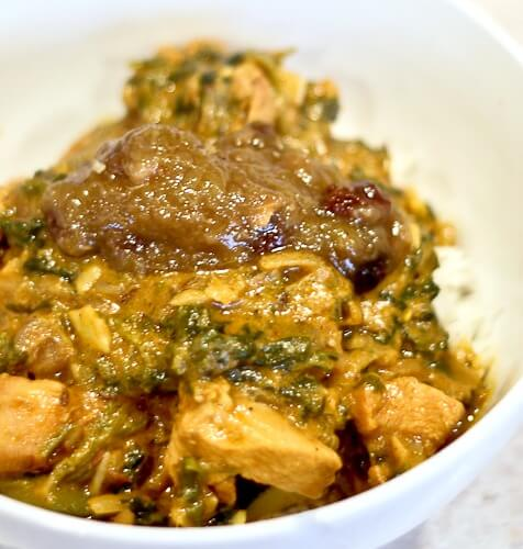 "Kinda Saag No Butter Chicken: Indian ""Butter Chicken"" re-imagined without butter and with spinach! Delicious and healthy!"