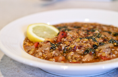 lentil and bulghur soup with minted garlic olive oil butter