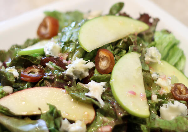 Mixed Greens with Apples, Dates and Gorgonzola