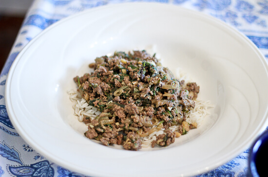 Saag Gosht Kheema,Indian ground beef with greens