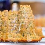 citrus glazed spiced castle bundt cake, close up of turret