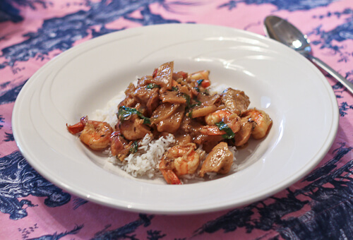 Indian Shrimp and Chicken Curry with Apples and Basil