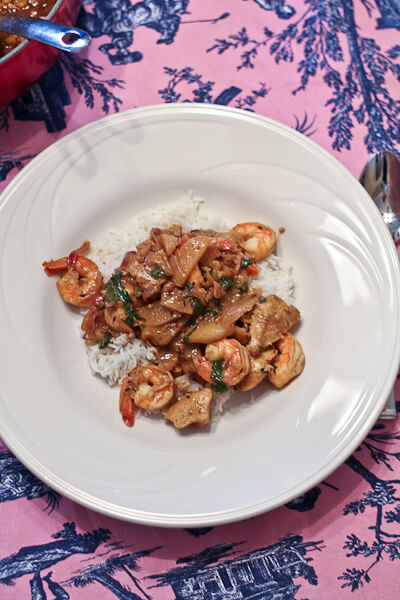 Shrimp and Chicken Curry with Apples and Basil