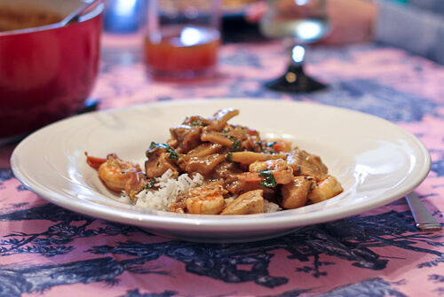 Indian Chicken and Shrimp Curry with Apples and Basil