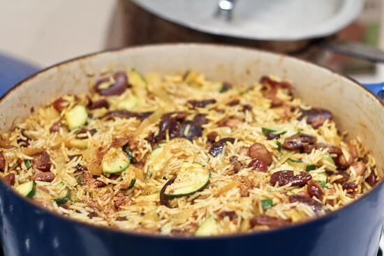 Persian Rice and Beans in Le Creuset French oven