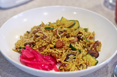 Persian Rice and Beans with pickled red onions