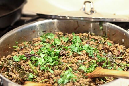 Cilantro in Indian kheema (ground meat curry)