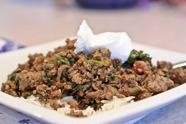 Greens hidden in Indian ground beef kheema