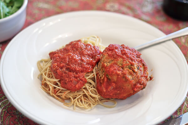 spaghetti and giant Fist Sized Meatballs
