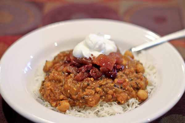 Weeknight curry made with leftover canned pumpkin