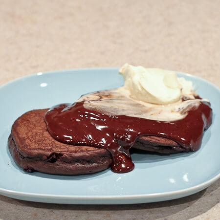 Hot Chocolate Sauce on Triple Chocolate Pancakes