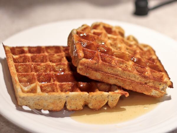 Buckwheat and yogurt waffles with hot buttered maple syrup