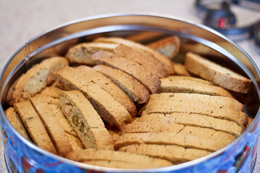 Rosemary Citrus Biscotti with Pistachios and White Chocolate