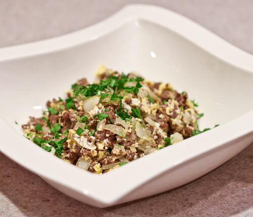 Middle Eastern Scrambled Eggs and Ground Meat