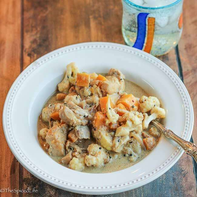 Bengali Chicken, Butternut Squash and Cauliflower with Coconut Mustard--this is serious gateway food! Everyone loves this meal!