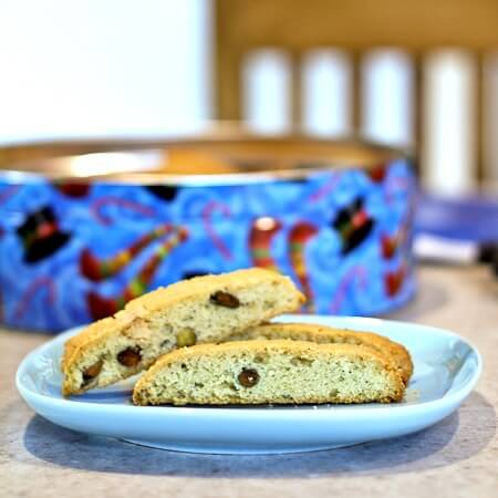 Rosemary Citrus Biscotti with Pistachios and White Chocolate Chunks