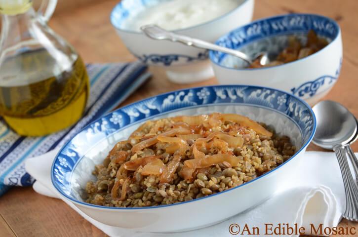 Lentil and Bulgur Pilaf with Caramelized Onion (landscape)