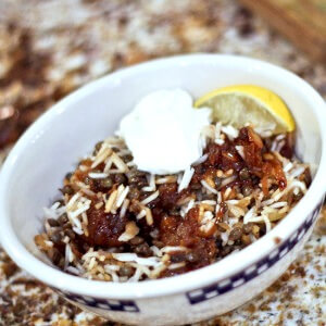 Mujadarra: Middle Eastern Lentils and Rice with Caramelized Onions