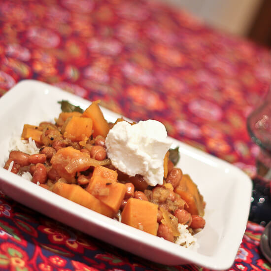 Curried Cranberry Beans and Sweet Potatoes