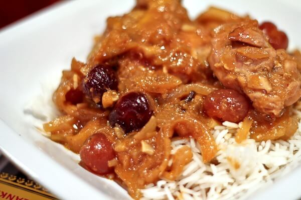 Parsi Inspired Chicken Curry with Mangoes and Cherries