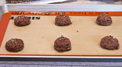 Shaved Chocolate Cookie dough on cookie sheet