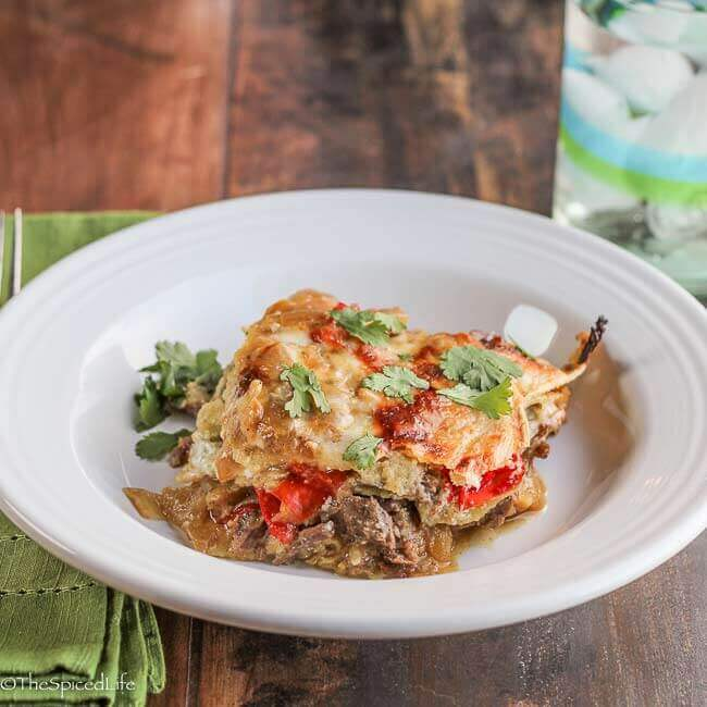 Tortilla Casserole with Beef Braised in Beer and Salsa Verde