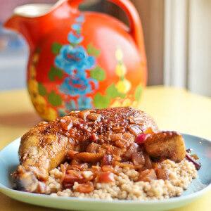 Chicken Legs Braised in Spanish Pomegranate Vinegar Sauce