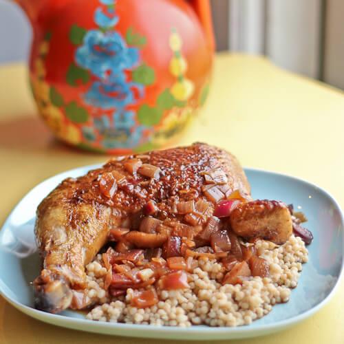 Chicken Legs Braised in Spanish Spiced Pomegranate Vinegar Sauce