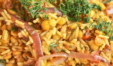 Yellow Split Pea Khichari with Dill, Tomatoes and Onions