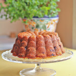 Mint Lemon Glazed Blueberry Rhubarb Bundt Cake