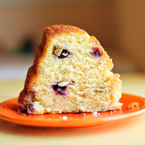 Mint Lemon Glazed Blueberry Rhubarb Bundt Cake