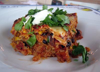 Layered Tortilla & Tomato Casserole With Butternut Squash Hash and Melted Cheese