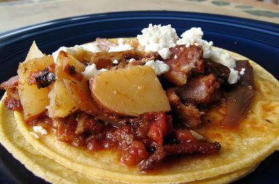 Bacon, Pork & Potato Tinga Tacos