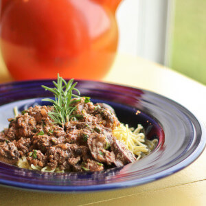 Ground Beef Stroganoff with Rosemary and Mushrooms